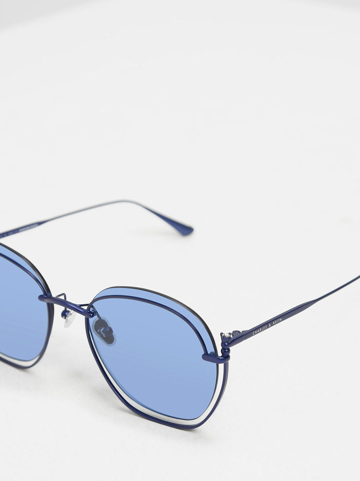 Cut Out Butterfly Sunglasses, Blue, hi-res
