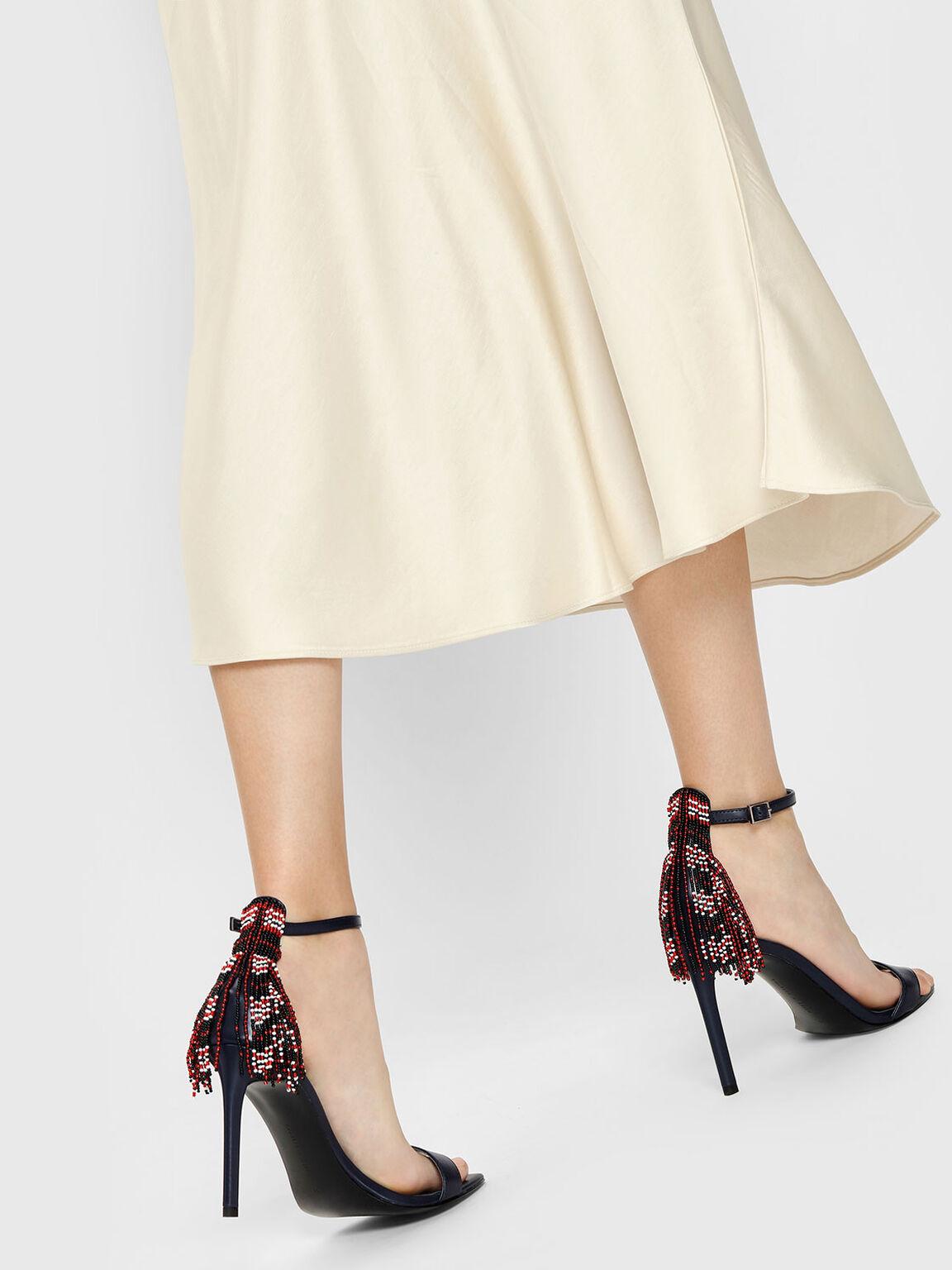 Beaded Fringe Heeled Sandals, Dark Blue, hi-res