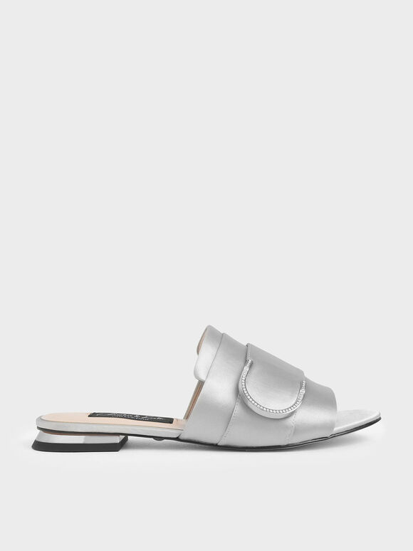 Satin Gem Encrusted Buckle Slide Sandals, Silver, hi-res