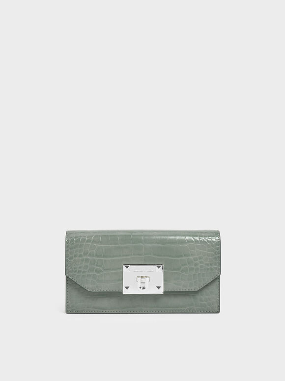 Croc-Effect Push Lock Flap Wallet, Sage Green, hi-res
