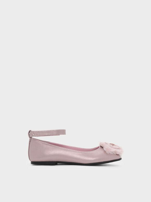 兒童絨毛花朵平底鞋, 玫瑰金, hi-res