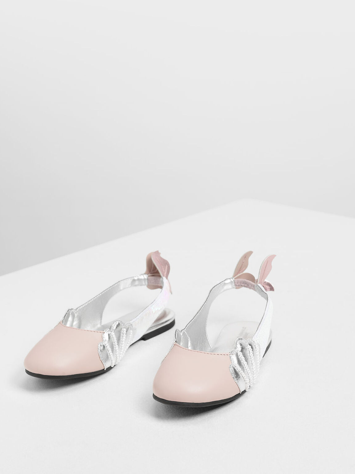 Girls' Seashell Slingback Shoes, Pink, hi-res
