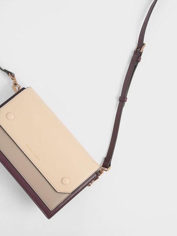 Two-Tone Mini Clutch Bag, Burgundy, hi-res