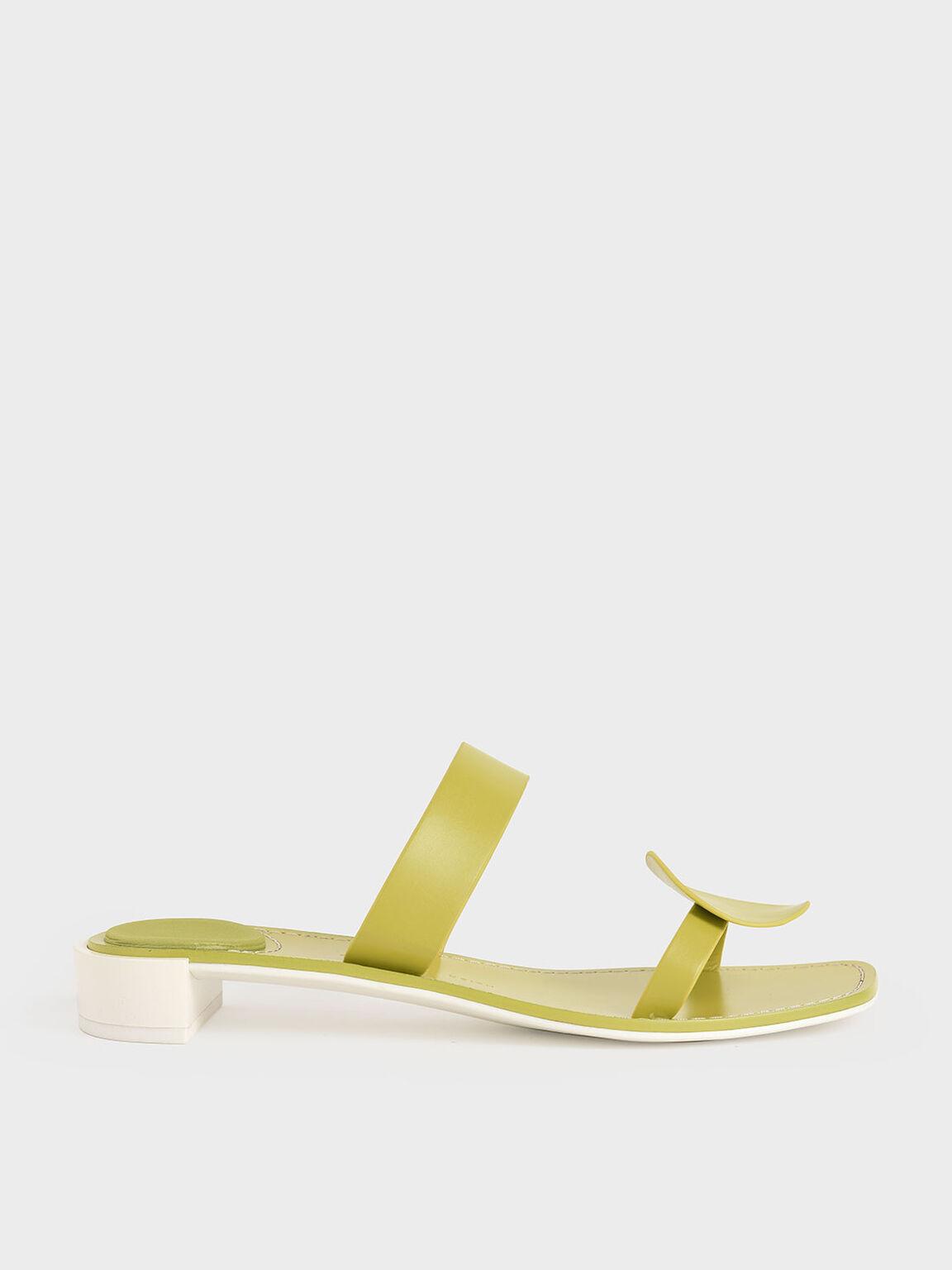 幾何雙帶拖鞋, 綠色, hi-res
