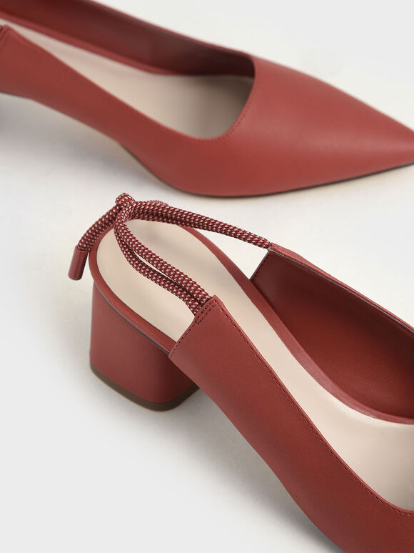 Knotted Slingback Pumps, Brick, hi-res