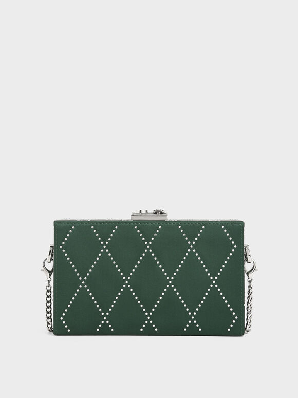 Satin Embellished Clutch, Dark Green, hi-res