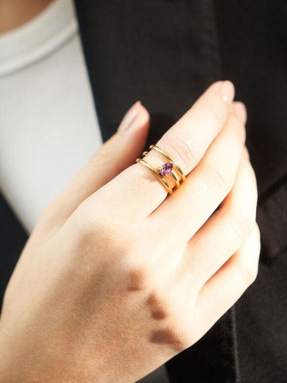 Crystal Embellished Caged Ring, Gold, hi-res