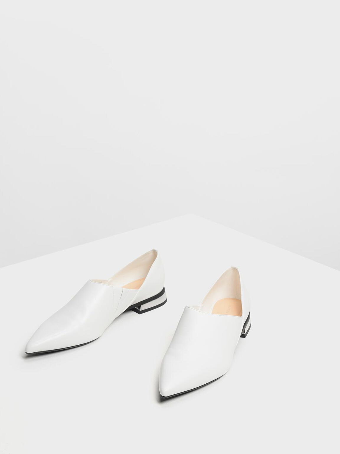 Pointed Toe Slip On Flat Shoes, White, hi-res