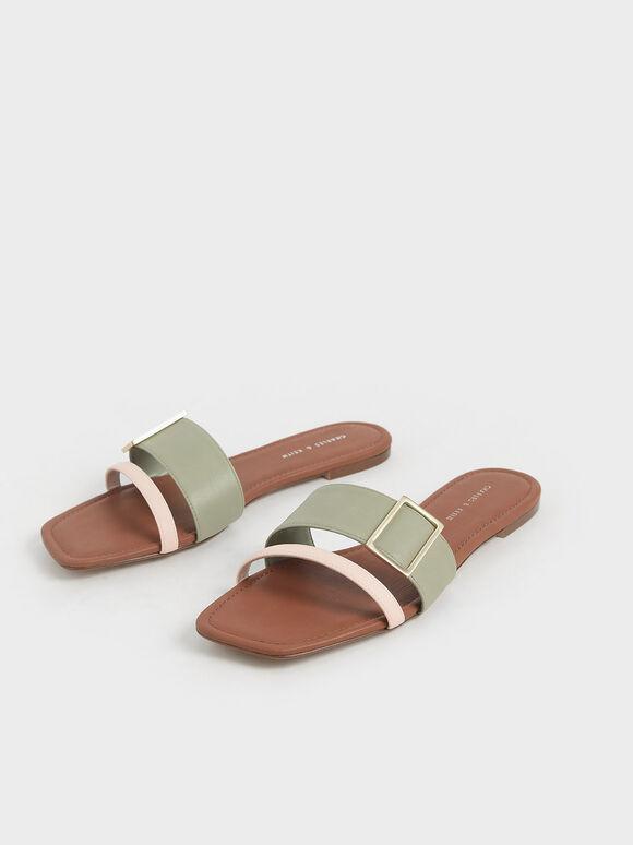 Buckle Slide Sandals, Sage Green, hi-res