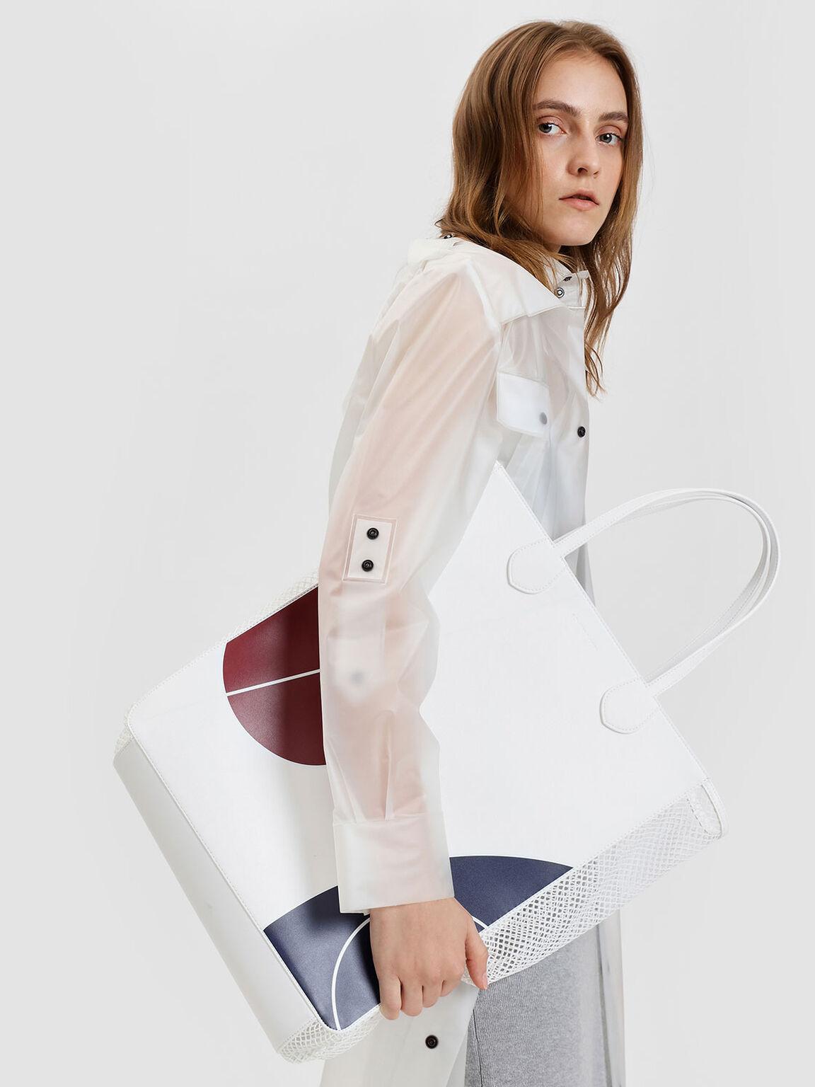 Mesh Panel Printed Tote Bag, White, hi-res