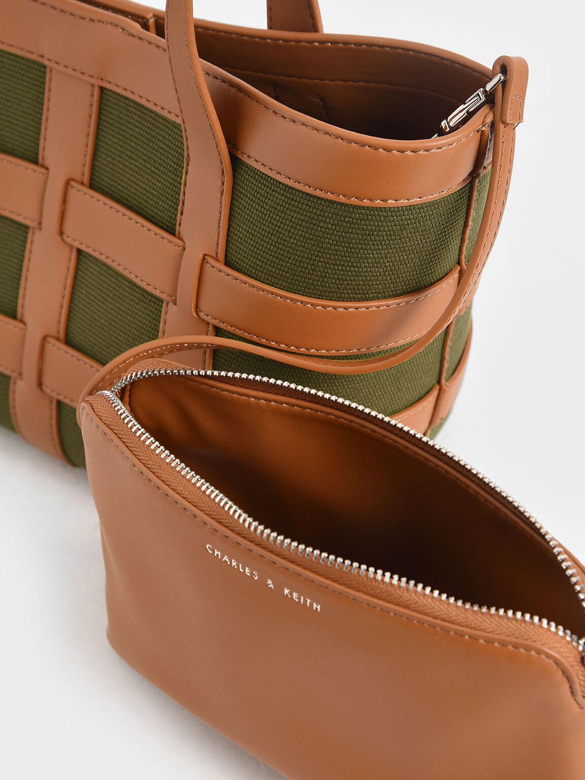 格狀中型托特包, 橄欖色, hi-res