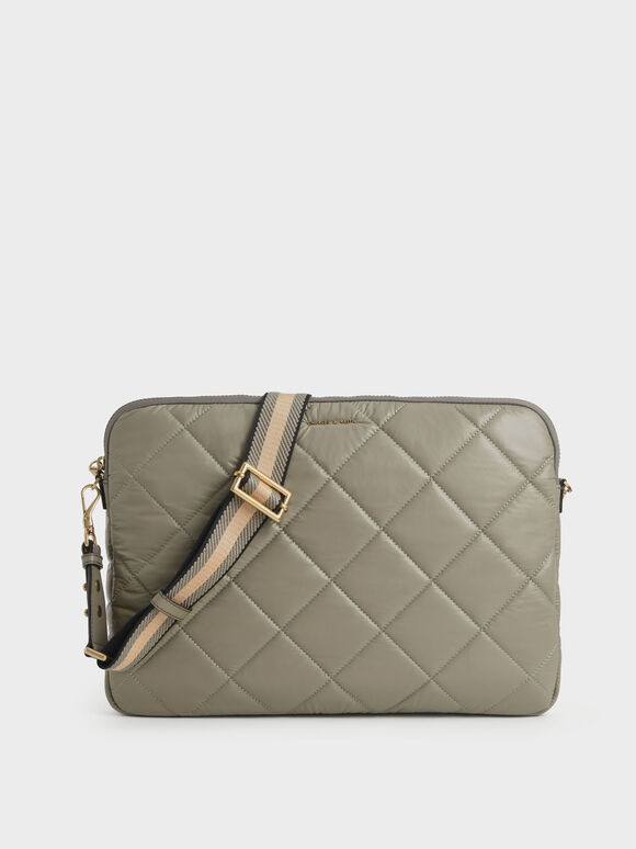 Quilted Laptop Bag, Taupe, hi-res
