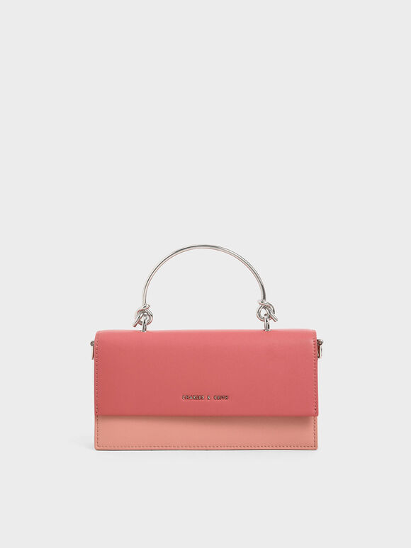 Metallic Handle Long Wallet, Pink, hi-res
