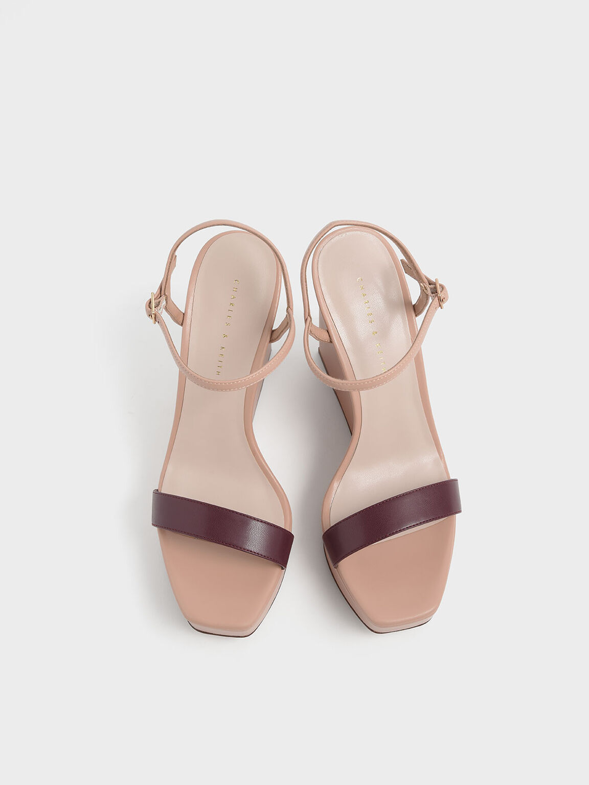 Two-Tone Square Toe Platform Wedges, Nude, hi-res