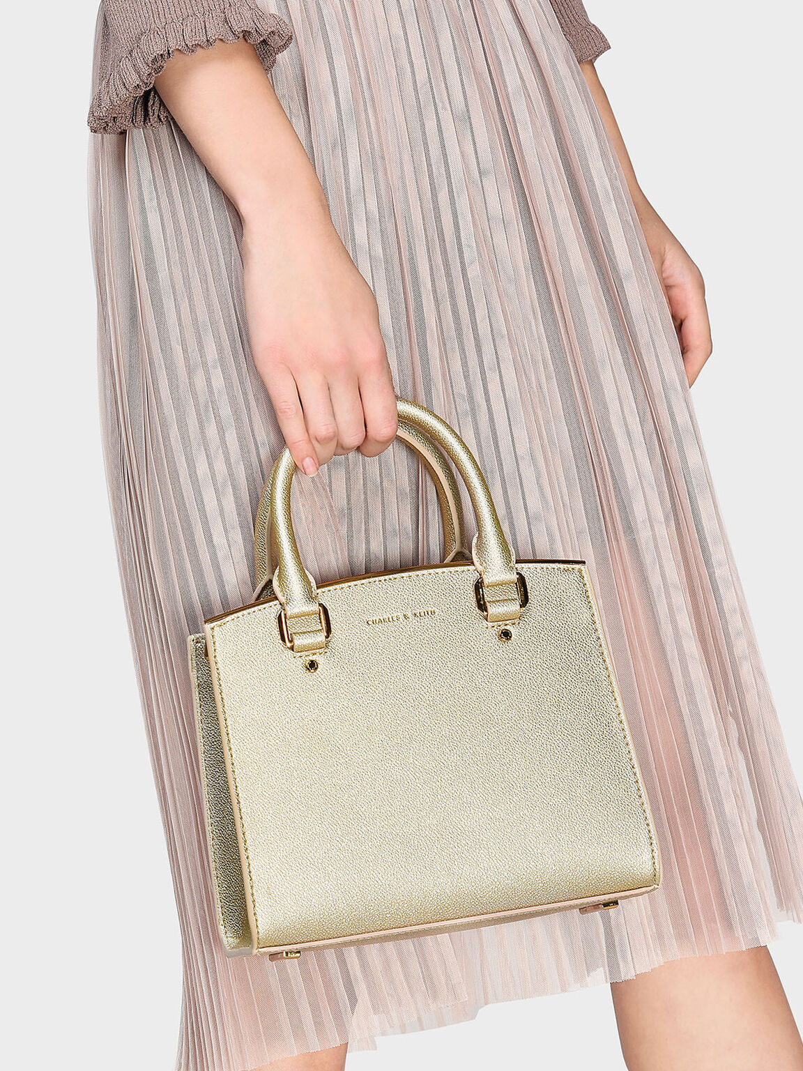 Structured Handbag, Gold, hi-res