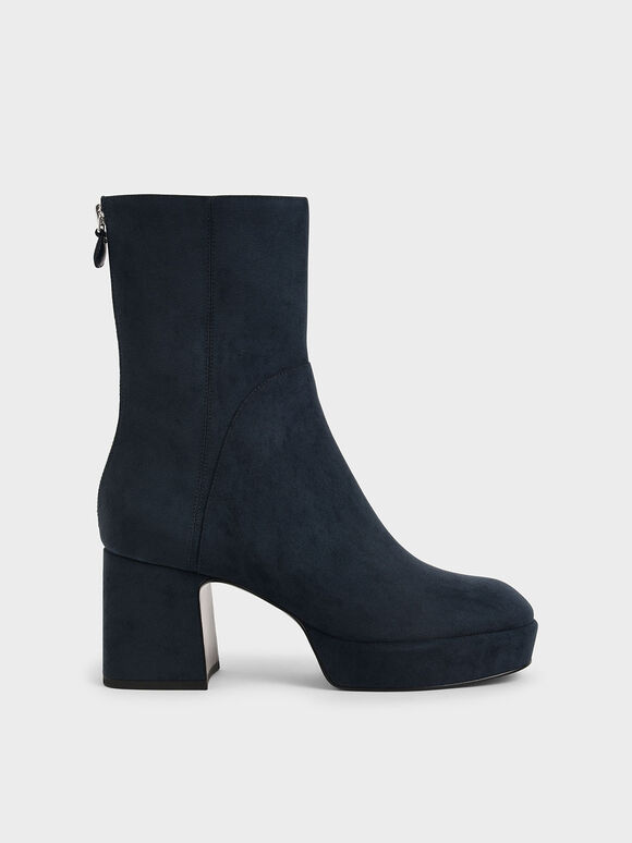 Textured Platform Ankle Boots, Dark Blue, hi-res