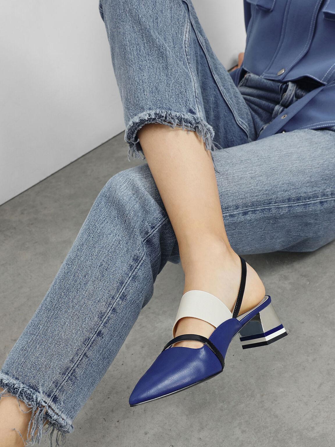 Pointed Toe Slingback Heels, Blue, hi-res