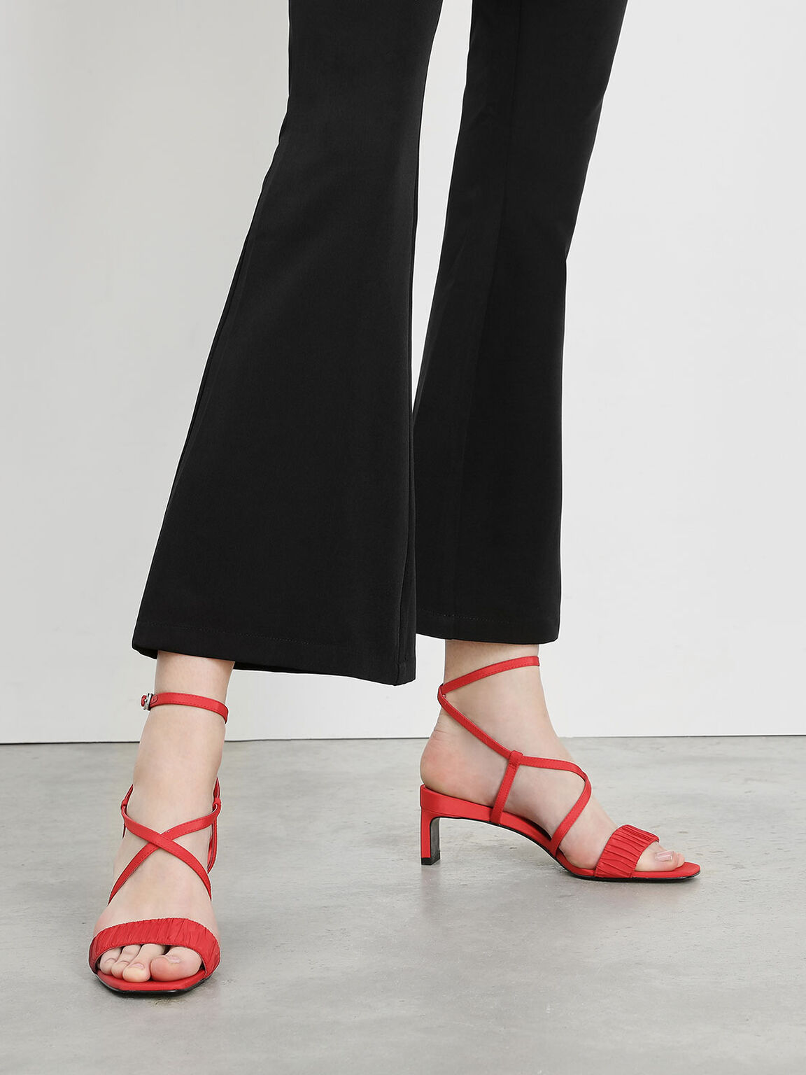 Ruch-Effect Strappy Sandals, Red, hi-res