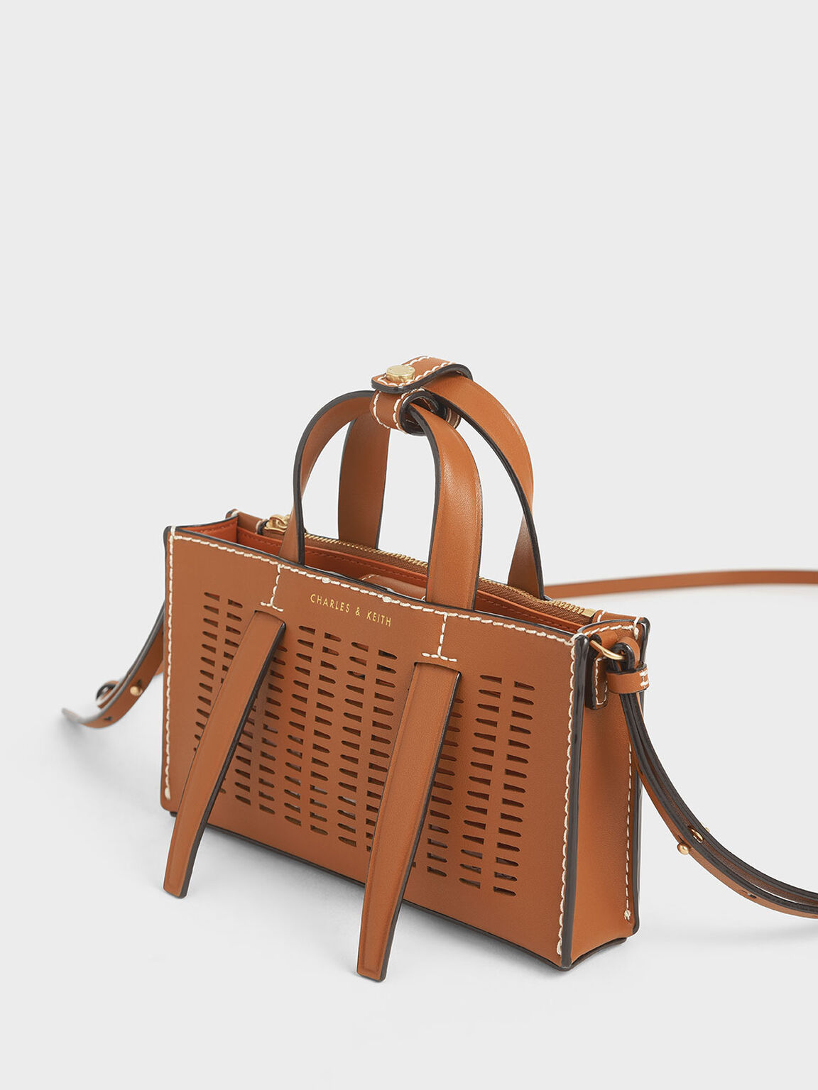 Laser-Cut Double Top Handle Bag, Cognac, hi-res