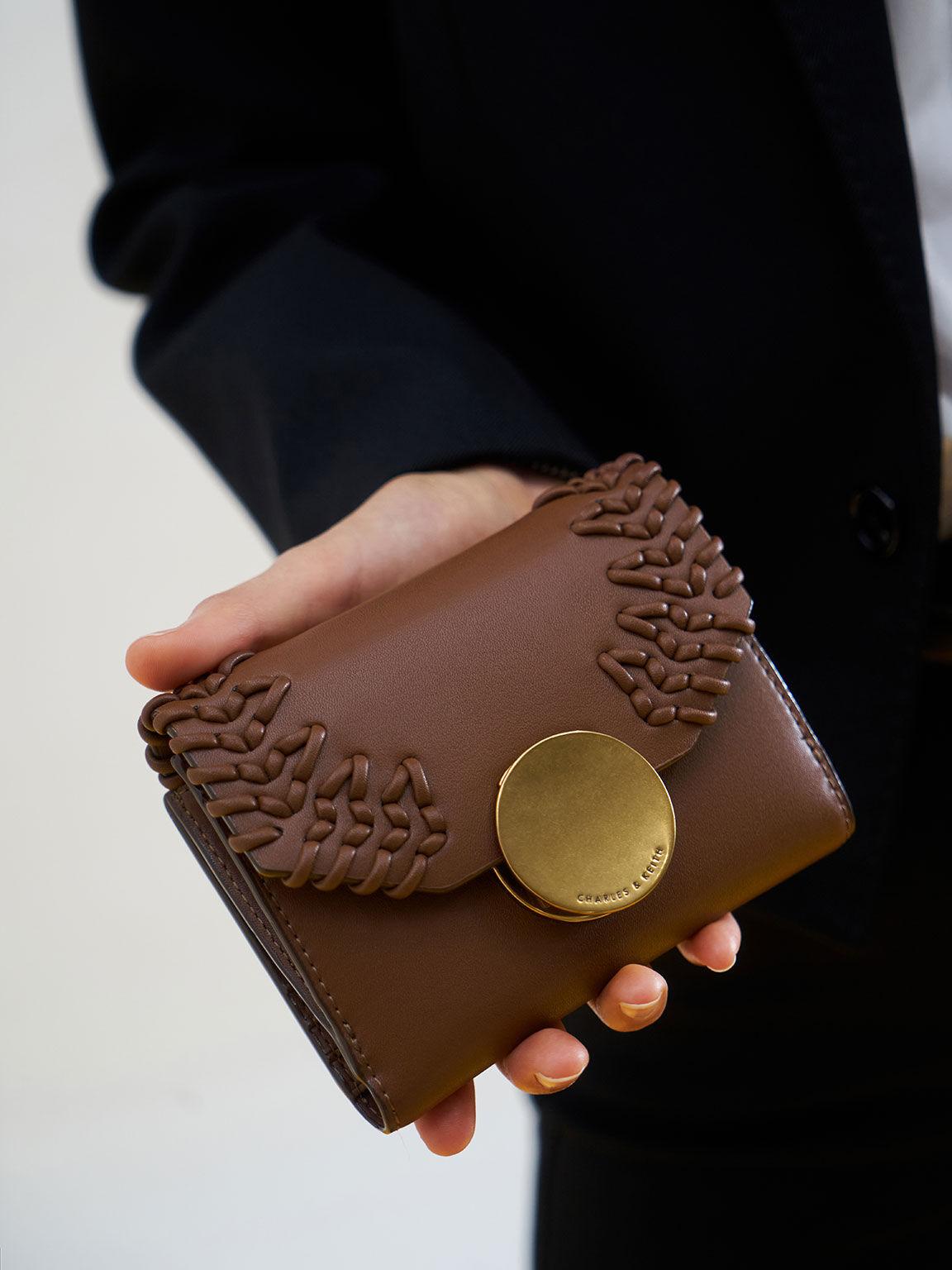 우븐 메탈릭 푸시-록 월렛, 초콜릿, hi-res