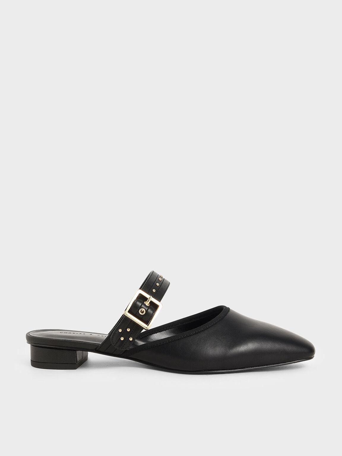 Studded Round Toe Mules, Black, hi-res