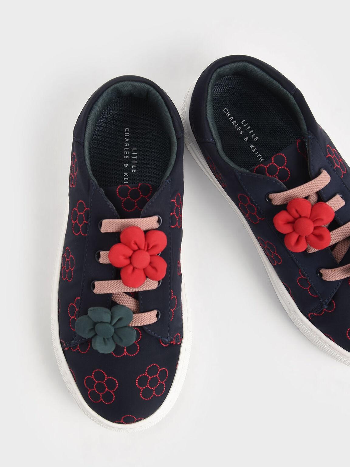 Girls' Flower Embellished Sneakers, Dark Blue, hi-res