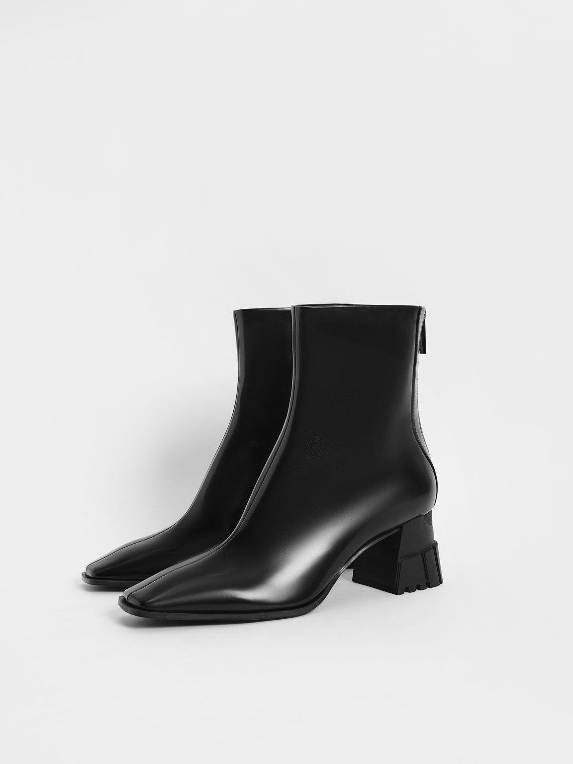 Zip-Up Block Heel Ankle Boots, Black, hi-res