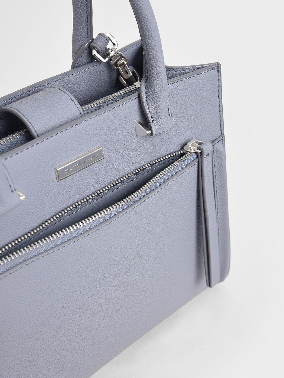 Double Handle Front Zip Tote, Light Blue, hi-res