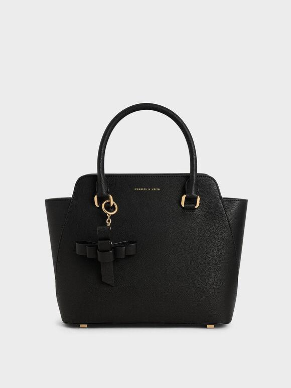 經典吊飾手提包, 黑色, hi-res