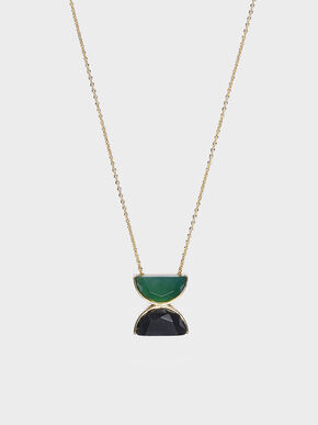 Black Marble Necklace, Green
