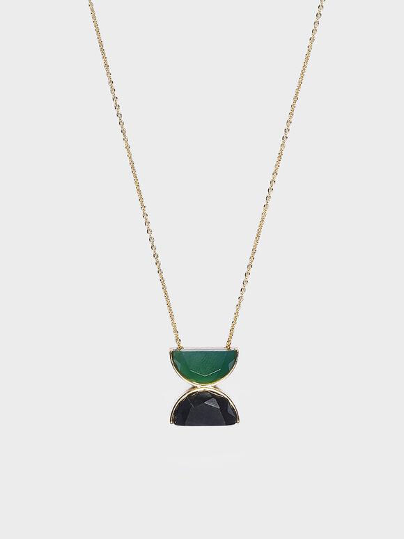 Black Marble Necklace, Green, hi-res