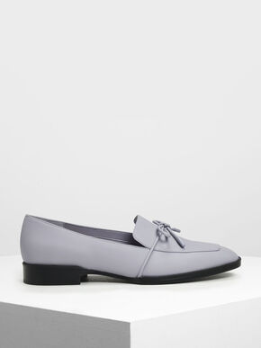 Bow Detail Loafers, Light Grey