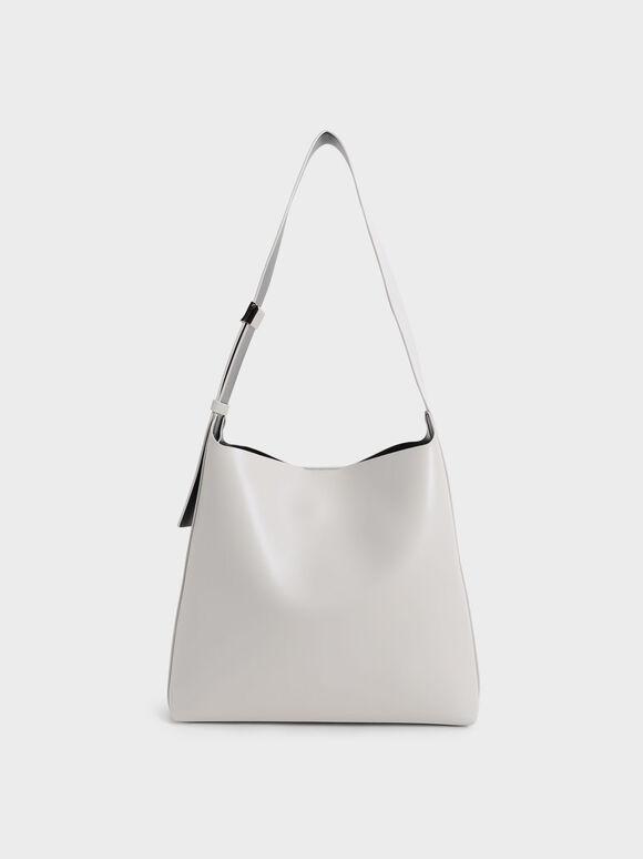Single Handle Large Hobo Bag, Light Grey, hi-res