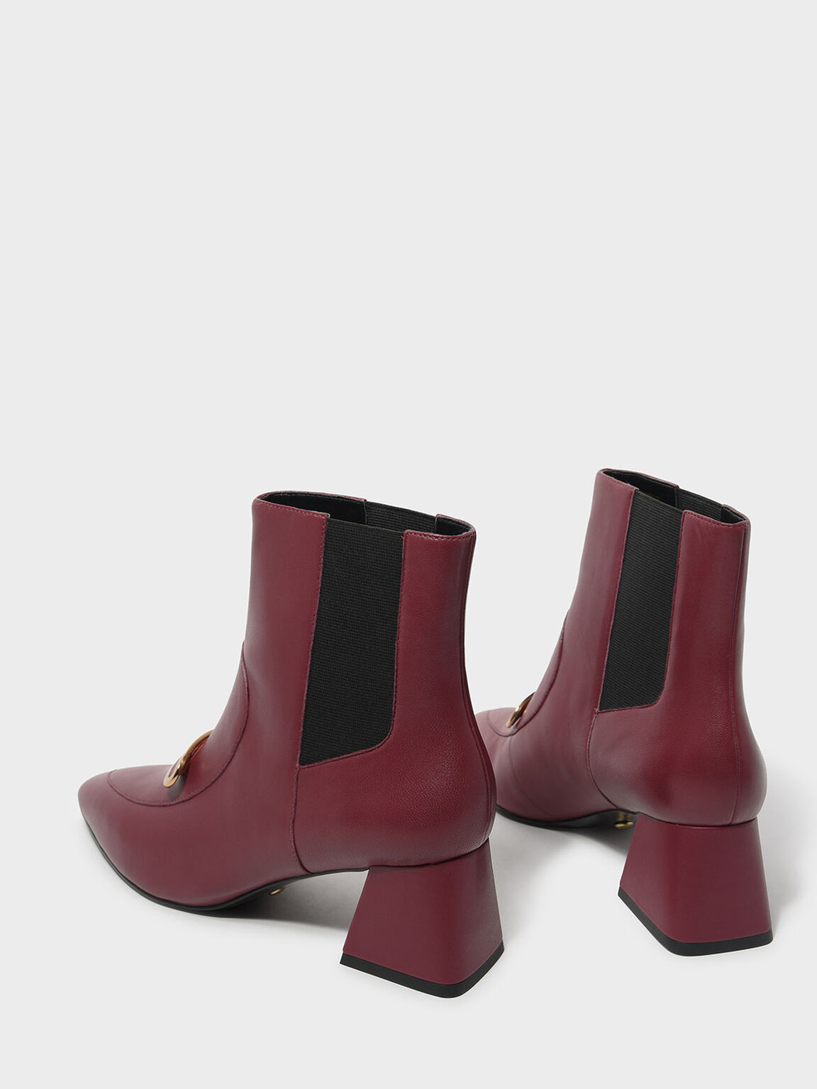 Metal Accent Leather Boots, Red, hi-res
