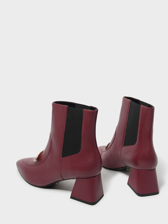 Metal Accent Leather Boots, Red