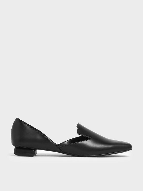 Square Toe D'Orsay Loafers, Black, hi-res