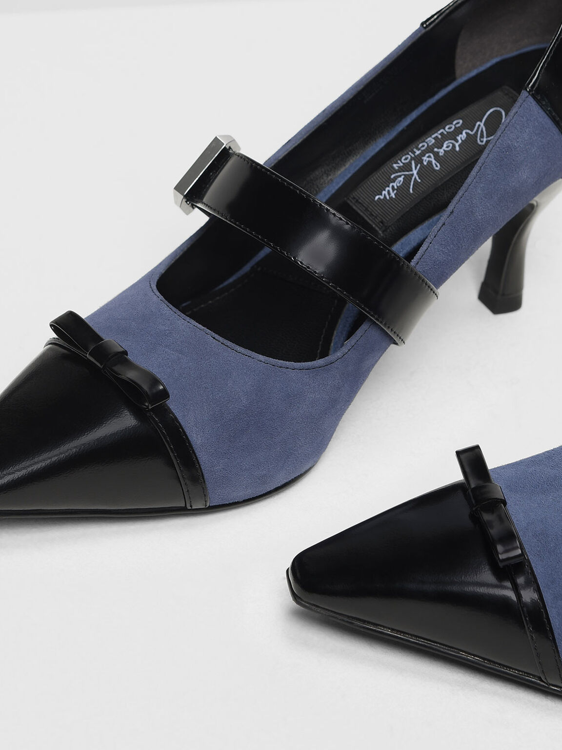 Kid Suede Ribbon Detail Mary Jane Heels, Blue, hi-res