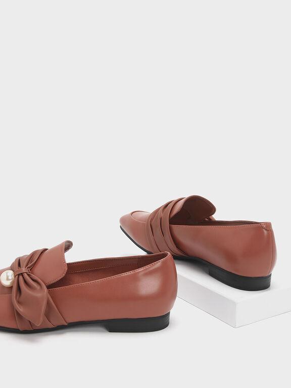 Embellished Ruched Detail Loafers, Brick, hi-res