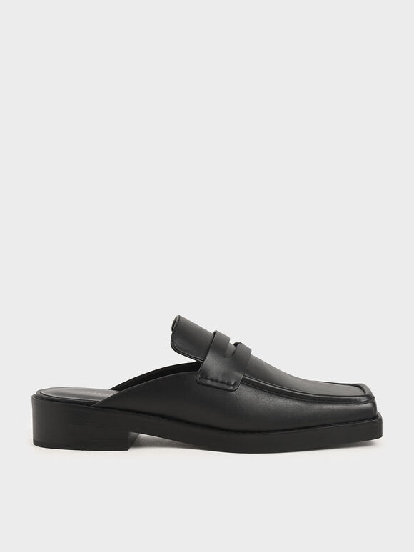 Square Toe Penny Loafer Mules, Black, hi-res