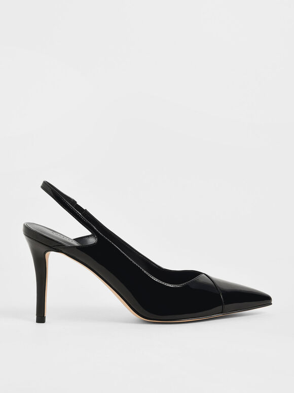 Patent Slingback Stiletto Pumps, Black, hi-res