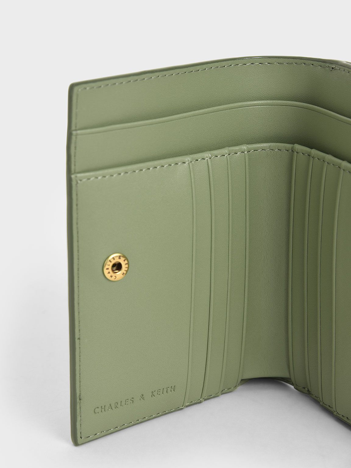 Woven Metallic Push-Lock Wallet, Sage Green, hi-res