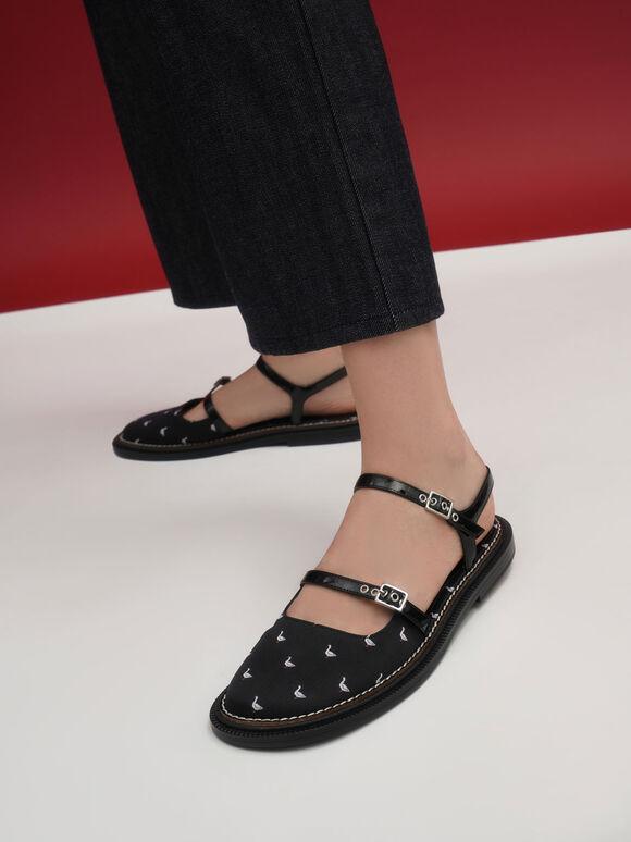 天鵝圖騰平底鞋, 黑色特別款, hi-res