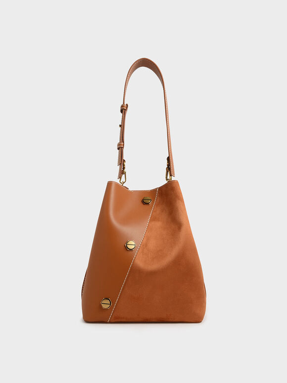 Studded Textured Hobo Bag, Tan, hi-res