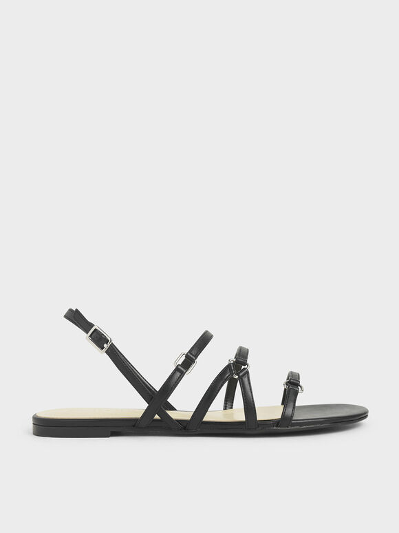 Tri-Strap Slingback Sandals, Black, hi-res
