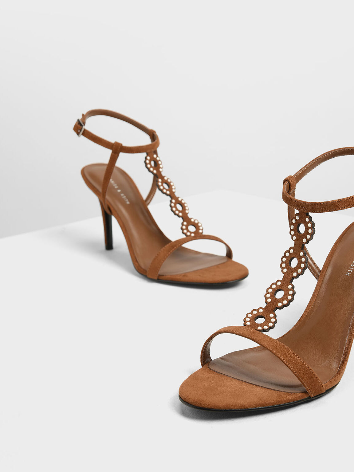 Cut-Out Embellished Stiletto Heels, Camel, hi-res