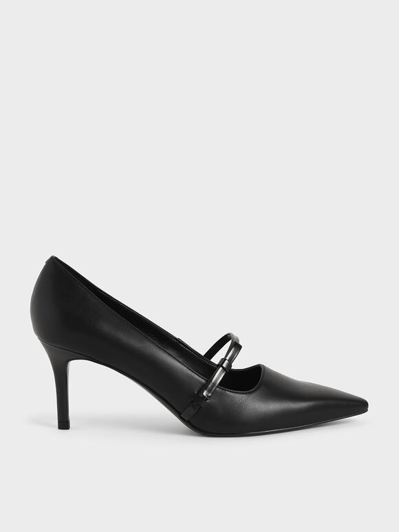 Mary Jane Stiletto Heel Court Shoes, Black, hi-res