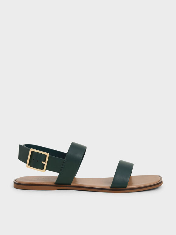 Buckle Ankle Strap Flat Sandals, Green, hi-res