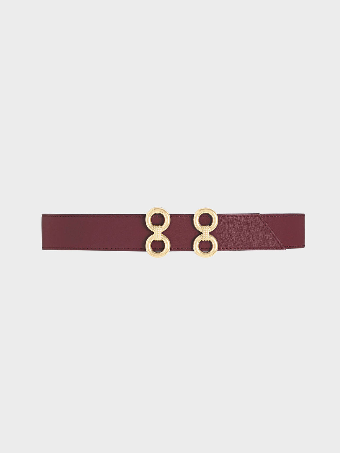Double Buckle Belt, Burgundy, hi-res