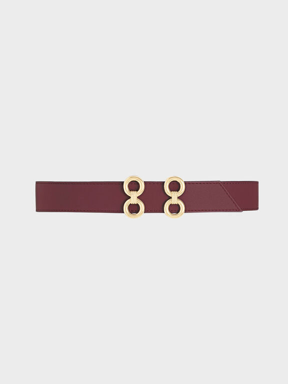 Double Buckle Belt, Burgundy