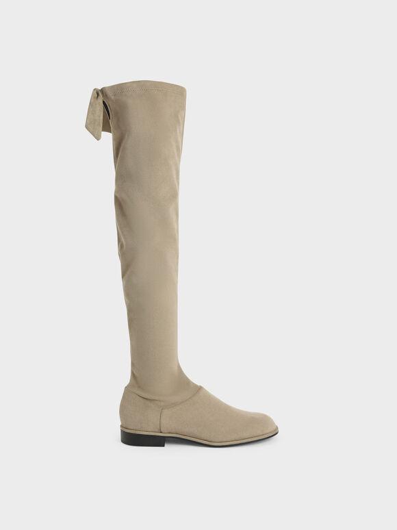 仿麂皮膝上靴, 橄欖色, hi-res